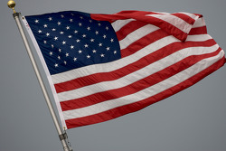 Strong morning wind on the American flag