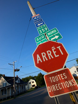 Road sign in the countryside, nearby Trois-Rivières