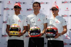 Lewis Hamilton, McLaren Mercedes, Pedro de la Rosa, Test Driver, McLaren Mercedes, Heikki Kovalainen, McLaren Mercedes, helmets have the name of Johnny Walker prize winners