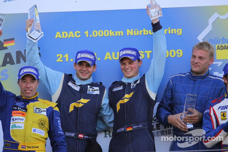 LMGT2 podium: class winners Marc Lieb, Richard Lietz and Horst Felbermayr Sr.