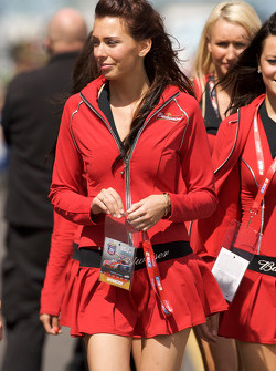 The charming Budweiser girls head to drivers introduction