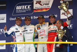 Andy Priaulx, BMW Team UK, BMW 320si with 1st place Augusto Farfus, BMW Team Germany, BMW 320si, 3rd place Gabriele Tarquini, Seat Sport, Seat Leon 2.0 TDI, Tom Coronel, Sunred Engineering, Seat Leon 2.0 and Dr. Klaus Draeger