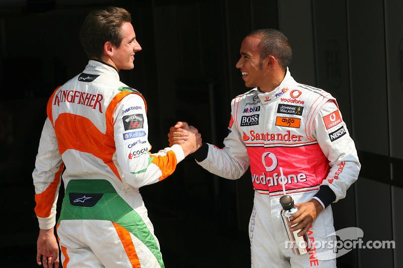 Ganador de la pole Lewis Hamilton, McLaren Mercedes con el segundp puesto Adrian Sutil, Force India