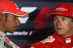 FIA press conference: pole winner Lewis Hamilton, McLaren Mercedes with third Kimi Raikkonen, Scuderia Ferrari