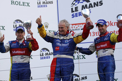 LMP1 podium: class and overall winners Olivier Panis and Nicolas Lapierre celebrate with Hugues de Chaunac