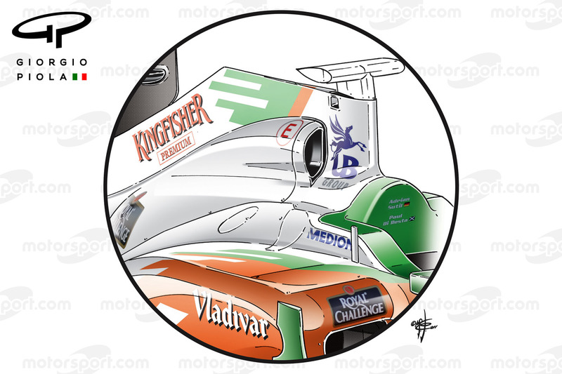 Force India VJM04 luchtinlaat