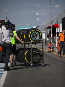 Pirelli tyres pushed on a trolley in the pits