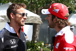 Jenson Button, McLaren with Jean-Eric Vergne, Ferrari Test and Development Driver