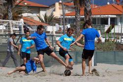 Antonio Felix da Costa, Timo Glock (DE, Marco Wittmann, Augusto Farfus und Tom Blomqvist, Beachfußball