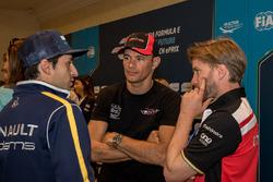 Nicolas Prost, Renault e.Dams; Stéphane Sarrazin, Venturi; Nick Heidfeld, Mahindra Racing