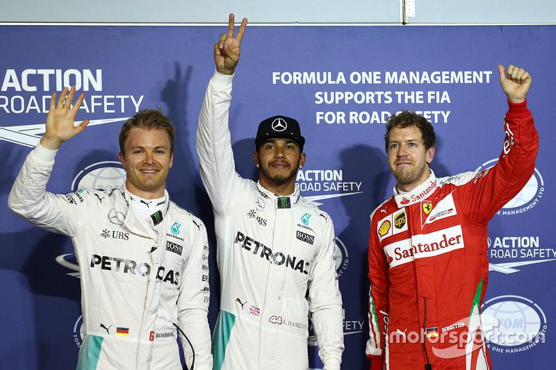 Polesitter Lewis Hamilton, Mercedes AMG F1 Team, second place Nico Rosberg, Mercedes AMG F1 Team, third place Sebastian Vettel, Ferrari