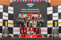Podium : second place Tom Sykes, Kawasaki Racing Team, winner Chaz Davies, Aruba.it Racing - Ducati Team, third place Jonathan Rea, Kawasaki Racing Team