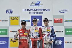 Rookie podium: second place Guanyu Zhou, Motopark Dallara F312 – Volkswagen; Winner Ralf Aron, Prema Powerteam Dallara F312 – Mercedes-Benz; third place Ben Barnicoat, HitechGP Dallara F312 – Mercedes-Benz
