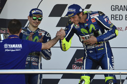 Podium: winner Valentino Rossi, Yamaha Factory Racing, second place Jorge Lorenzo, Yamaha Factory Racing