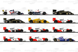 The F1 cars of Ayrton Senna's race career