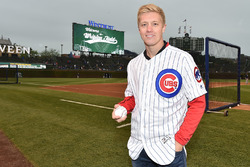 Spencer Pigot, Rahal Letterman Lanigan Racing Honda before the ceremonial first pitch
