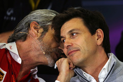 (L to R): Maurizio Arrivabene, Ferrari Team Principal with Toto Wolff, Mercedes AMG F1 Shareholder and Executive Director in the FIA Press Conference