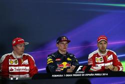 The post race FIA Press Conference: second place Kimi Raikkonen, Ferrari, race winner Max Verstappen, Red Bull Racing, third place Sebastian Vettel, Ferrari