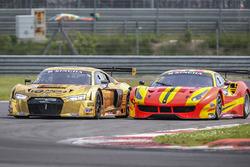 #5 Phoenix Racing Asia Audi R8 LMS GT3: Marchy Lee, Shaun Thong dan #37 BBT Ferrari 488 GT3: Davide Rizzo, Anthony Liu