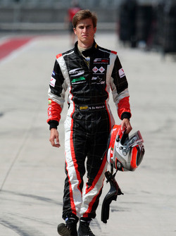 Nicola de Marco walks in after his first lap crash