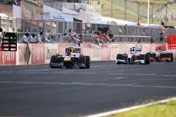 Jarno Trulli, Toyota F1 Team, Sebastian Vettel, Red Bull Racing and Lewis Hamilton, McLaren Mercedes