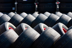 Goodyear tires wait to be used