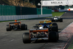 Close race action, at the chicane's exit