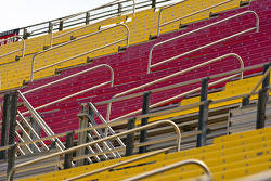 The grandstands sit empty