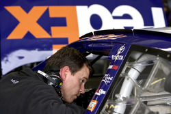 Jason Ratcliff, crew chief for the No. 18 Fed Ex Toyota, talks with Casey Atwood, who is practicing the car for Kyle Busch