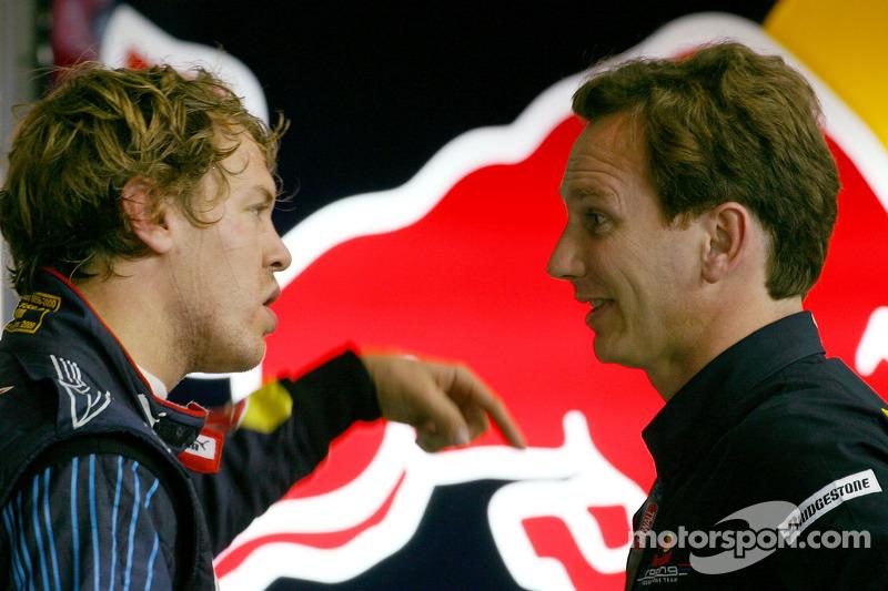 Sebastian Vettel, Red Bull Racing en teambaas Christian Horner