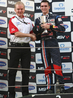 Mikhail Aleshin with Jonathan Palmer Motorsport Vision Chief Executive on the podium