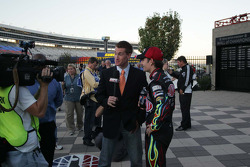 Jeff Gordon does television interviews in Victory Lane