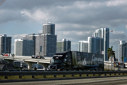 Drivers conduct a haulers parade over the McCarthur Causway from Miami to South Beach during the Fan