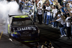 Championship victory lane: 2009 and 4th time NASCAR Sprint Cup Series champion Jimmie Johnson celebrates