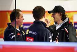 Robert Kubica, in the Ranault F1 garage