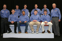 Top row: Joe Gibbs Racing president J.D. Gibbs, NASCAR Sprint Cup Series drivers Denny Hamlin, Joey Logano and Kyle Busch, NASCAR Nationwide Series driver Matt DiBenedetto; bottom row: NASCAR Nationwide Series driver Brad Coleman with NASCAR Camping World