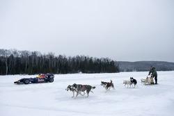 Sebastien Buemi in de Red Bull Racing F1 wagen in de sneeuw, Circuit Gilles-Villeneuve in Lac-à-l'Eau-Claire, Québec, Canada
