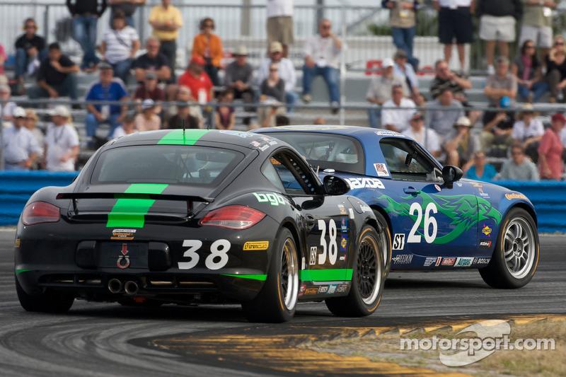#26 Freedom Autosport Mazda MX-5: Andrew Carbonell, Rhett O'Doski, #38 BGB Motorsports Porsche Cayman: Steve Jenkins, Craig Stanton