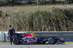 Mark Webber, Red Bull Racing, RB6, stops on circuit