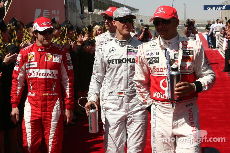 Фернандо Алонсо, Scuderia Ferrari, Міхаель Шумахер, Mercedes GP, і Льюіс Хемілтон, McLaren Mercedes