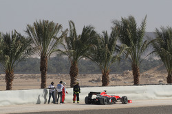 The stopped car of Lucas di Grassi, Virgin Racing