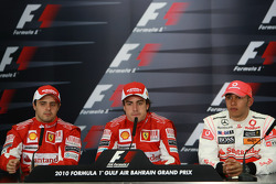 Press conference: race winner Fernando Alonso, Scuderia Ferrari, with second place Felipe Massa, Scuderia Ferrari, and third place Lewis Hamilton, McLaren Mercedes