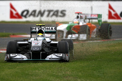 Nico Rosberg, Mercedes GP, runs onto the grass