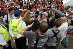Jenson Button, McLaren Mercedes, signing autographs