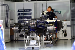 The Williams team work on their cars