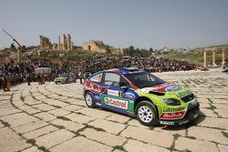 Mikko Hirvonen en Jarmo Lehtinen, Ford Focus RS WRC08, BP Ford Abu Dhabi World Rally Team