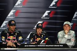 Post-race press conference: race winner Sebastian Vettel, Red Bull Racing, second place Mark Webber, Red Bull Racing, third place Nico Rosberg, Mercedes GP