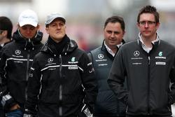 Michael Schumacher, Mercedes GP walk the circuit, Andrew Shovlin, Mercedes GP, Senior Race Engineer to Michael Schumacher