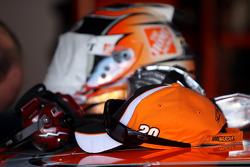 Helmets and caps in the Joe Gibbs Racing Toyota garage