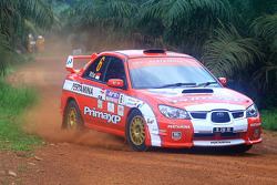 Rifat Sungkar with co-driver Scott Beckwith of Pertamina Rally Team